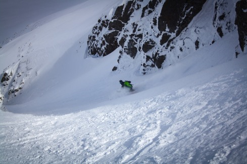 Enjoying the powder turns in Aladdin's Couloir