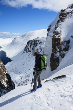 Looking down the icy steeps of Castlegate Gully